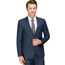 Man Suit 2017 Latest Coat Pant Designs Formal Wear Plaid Suits Set With Pants High Quality Male Slim Fit Costume Prom Dress(China)