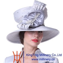 Kueeni Women Hats Church Hats Top Crown Big Bow Silver Color Floral Pattern Large Size Wide Brim Party Office Wedding Dress Hats(China)