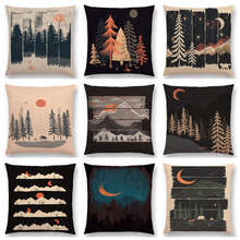 Animals Wild Adventure Spot Woods Starry Night Mountains Sun Moon Winter Exploration Camping Cushion Cover Sofa Pillow Case