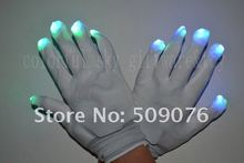 Free shipping white glove Entertainment Flashing Gloves Glow 7 Mode LED Rave Light Finger Lighting Mitt white
