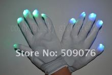 Free shipping white glove Entertainment Flashing Gloves Glow 7 Mode LED Rave Light Finger Lighting Mitt white(China)