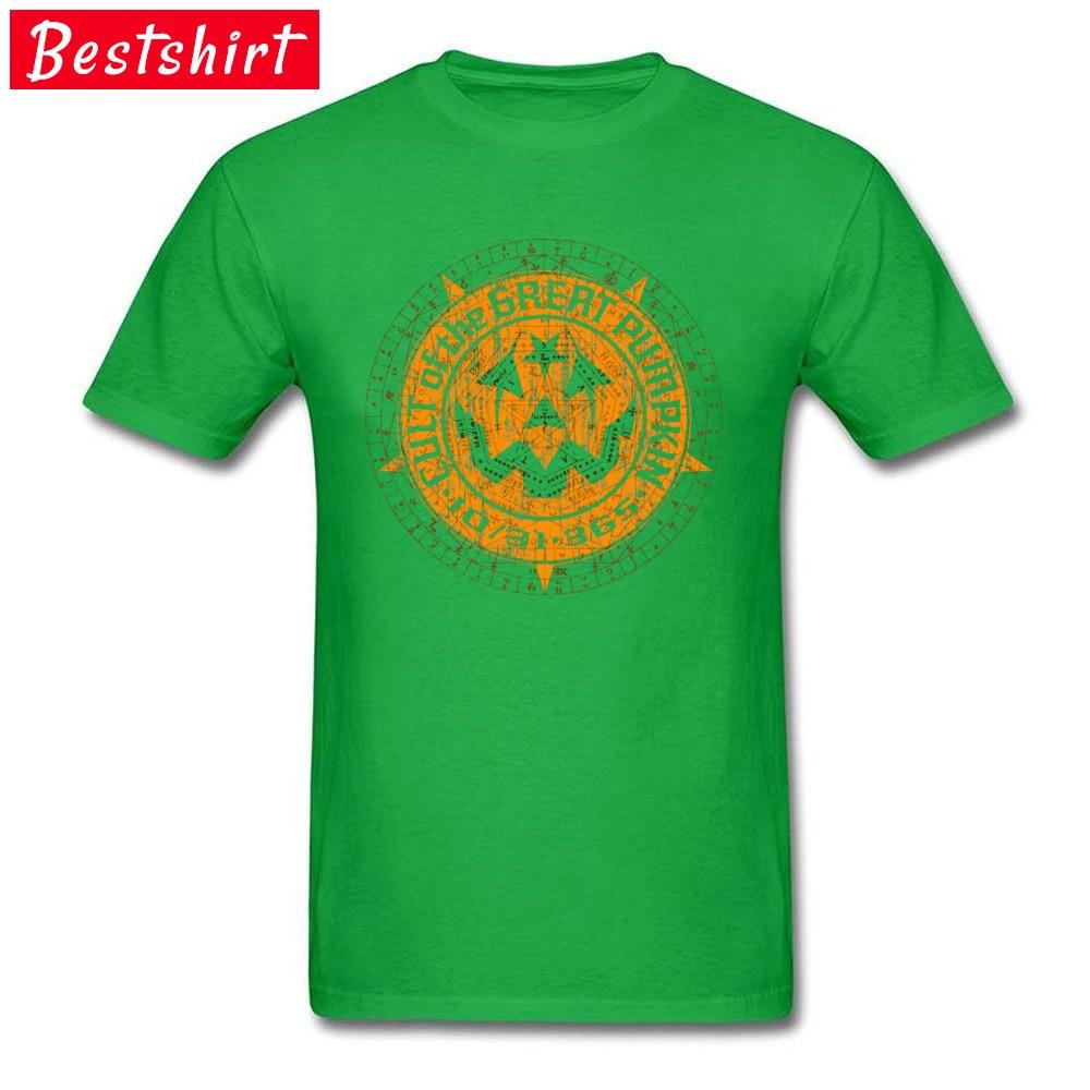 Casual Normal Short Sleeve Tops T Shirt Summer/Autumn Crew Neck 100% Cotton Boy T-Shirt Normal Tee-Shirts 2018 Cult of the Great Pumpkin Alchemy Logo 15715 green