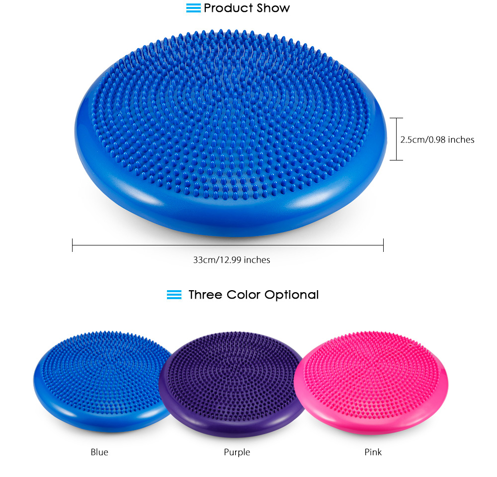1pcs Durable Inflatable Yoga Wobble Stability Disc Massage Cushion Mat