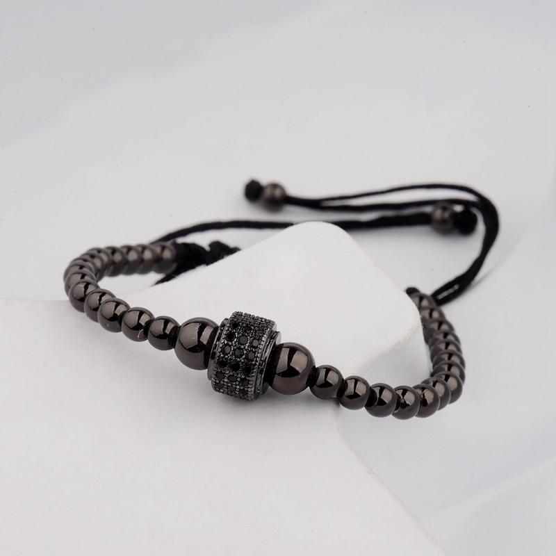 DOUVEI 17 New Black Diy Design Pave CZ Ball Charm Bracelet Men Women Braided Macrame Copper Beads Jewelry Gift For Men Women 5