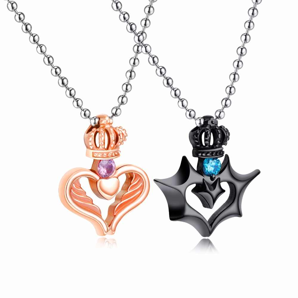 b022d1dcff Romantic Heart Pendant Necklace Women Men Couple Jewelry Black Rose Gold  Crown Stainless Steel Zircon Chain