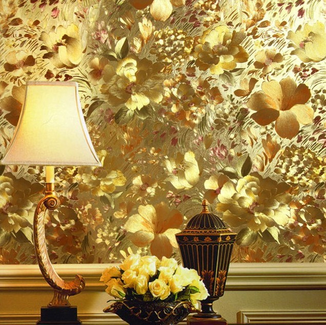 papel de parede. Floral gold foil wallpaper gold embossed background wall wallpaper for living room ceiling wallpaper WP091<br><br>Aliexpress