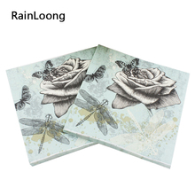 [RainLoong] Virgin Wood Pulp Material and Cocktail Napkins Application 33cm*33cm 20pcs/pack/lot(China)