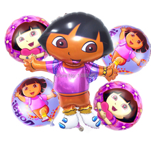 5pcs/lot Large Gaint Dora Set Foil Balloons Cartoon Dora Explore  Helium Balls Birthday Party  Decorations Kids Inflatable Toys