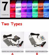 Wireless Remote/Music/Voice Control Car RGB LED Neon Interior Light Lamp Strip Decorative Lights 2 Styles For Choose
