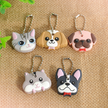 New 1 Pc Silicone Key Ring Cap Head Cover Keychain Case Shell Cat Hamster Shih Tzu Pug Dog Animals Shape Lovely Jewelry Gift