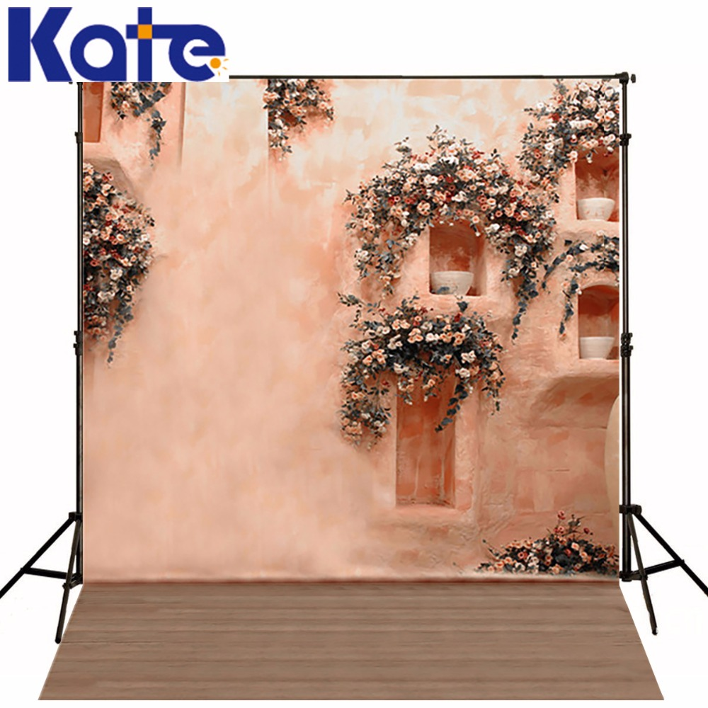 Wood Floor Wedding Photography Backdrops Colorful Pink Wall Flower Valentine Backdrops Background For Photo<br>