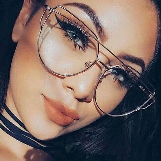 Fashion Clear Lens Plain Cat Eye Glasses for Reading Aviation Alloy Gold Frame Sunglasses Women Optical Oculos De Sol Feminino<br><br>Aliexpress
