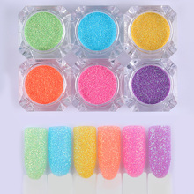 BORN PRETTY 6 Boxes Candy Sandy Nail Glitter Set Colorful Rainbow Manicure Nail Art Dust Tips Decorations Kit