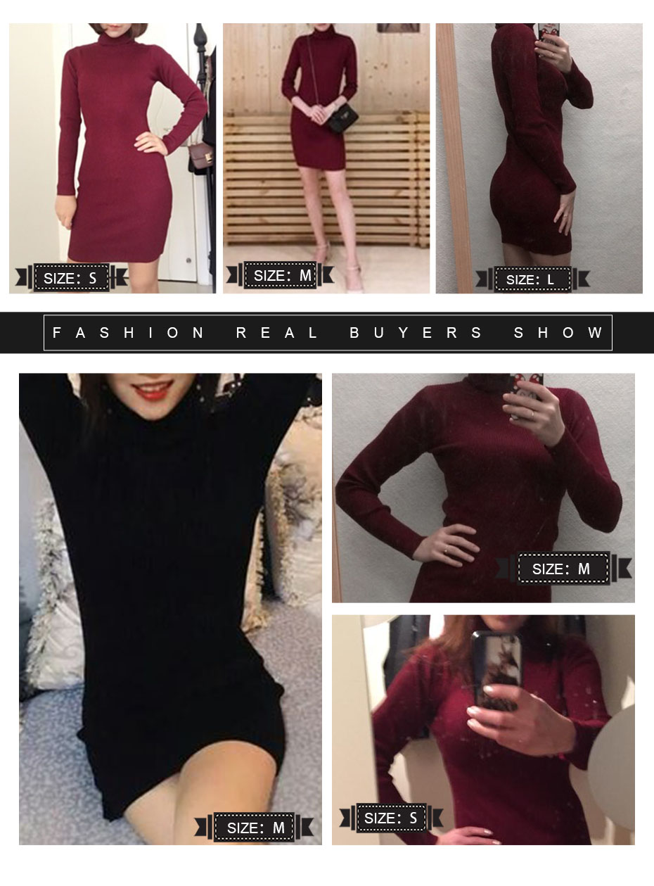 17 Winter High Collar Pullover Sweater Women Dress Slim Simple Sweaters pullovers long sleeve Dresses Package Hip Bottoming 1