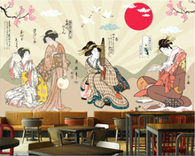 beibehang Vintage fashion silky papel de parede 3d wallpaper Japanese staple Japanese restaurant background wallpaper tapety(China)