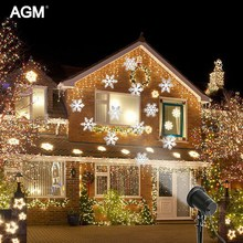 AGM Laser Moving Snowflake LED SpotLight New Year Christmas Lights Projector Landscape lighting Lamps Stage DJ DMX Garden Decor(China)
