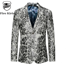 Fire Kirin Men Blazer 2017 Slim Fit Mens Floral Blazer Casual Suit Jacket 5XL 6XL Plus Size Prom Stage Wear Brand Clothing Q402(China)