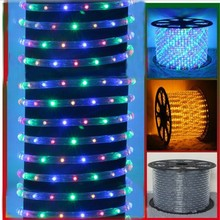 Round two Wire LED Rope Light 220V Chasing 360 Angle flexible Led Neon Tube strip light  RGB Warm White  Blue Green yellow red