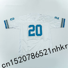 Retro star 20# Barry Sanders Embroidered Name&Number Throwback Football Jersey White(China)