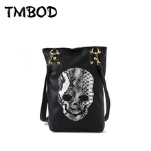 Hot 2017 New Punk Black Skull Face Designer PU leather Handbags Women's Shoulder Bag Ladies Tote CrossBody Shopping Bag QF086