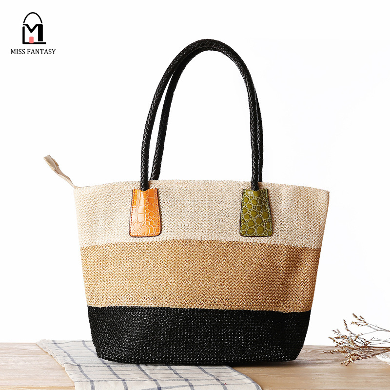 Womens Fashion Style Straw Bag Patchwork Color  Beach Bags Ladys Handbags Famous Brand Straw Handbag Leather Handle Travel Bag<br><br>Aliexpress