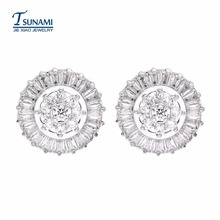 A famous brand of zircon earrings for women/girls An ear nail for the round ladder ER-107