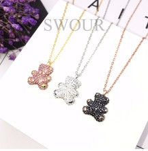 Wholesale New Jewelry S925 Sterling Silver Cubic Zircon CZ Teddy Bear Design Wedding Gift Pendant Chain Necklace S229(China)