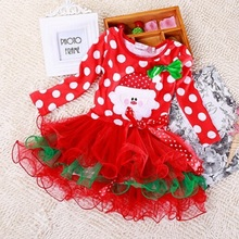 2017 Christmas Cotton Red Long Sleeve Dress Girl Party Christmas Ball Gown Dresses Baby Girls Christmas Costumes DQ0219