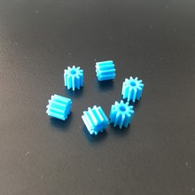 6pcs Sale K934 102A Shaft Gear Blue Color Plastic Small Gears Fit 2mm Axle DIY Model Car Making(China)