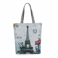 Eiffel Tower Pattern Fashion Women Canvas Tote Casual Beach Shoulder Bags Portable Ladies Women Shopping Bag Handbags bolsa(China)