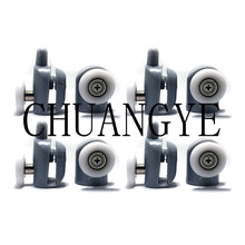 8Pcs/Set Stainless Steel Shower Door Rollers Runners Wheels Pulleys 23mm/25mm Top/Bottom Screw Cover Caps Supplied(China)