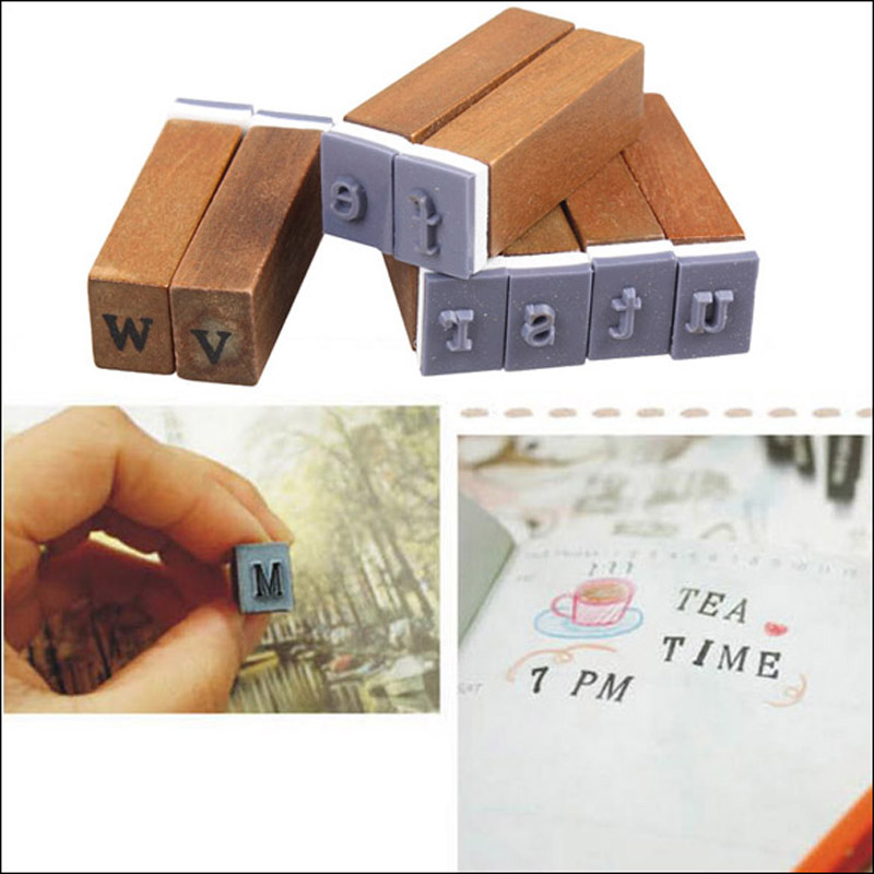 70Pcs Vintage Upright Type and Cursive Characters Alphabet Letter Number Symbol Rubber Stamps with Wood Box <br><br>Aliexpress