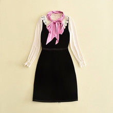 European and American women's wear 2017 The new winter Long-sleeved round collar embroidering dress + scarves(China)