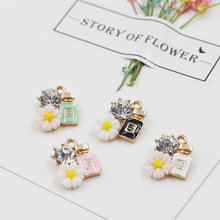 MRHUANG 10pcs/lot Flower Rhinestone Perfume Enamel Charms Pendant Braclets Jewelry finding DIY Craft more fashion(China)