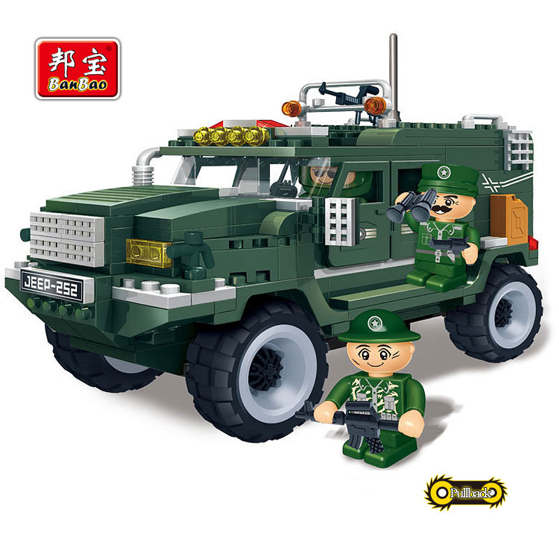 BanBao Military Educational Building Blocks Toys For Children Kids Gifts Mini Army Vehicle Cars Weapon Pullback Stickers<br><br>Aliexpress