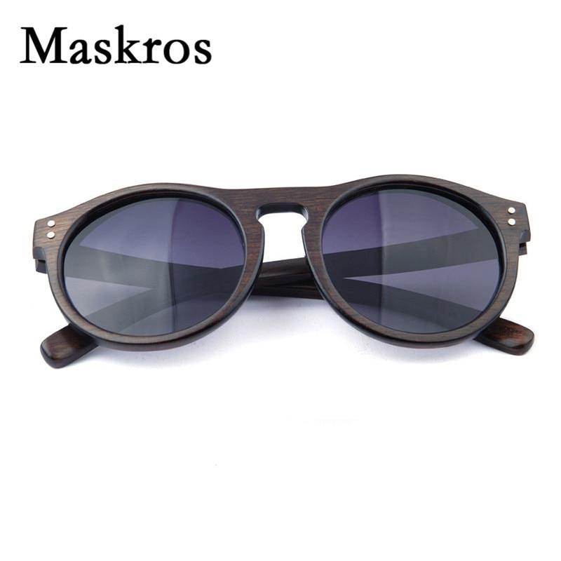 Maskros Spring Hinge HD Polarized Wood Sunglasses Men Women Male Vintage Retro Round Black Sun glasses For Female 2017 Fishing <br><br>Aliexpress