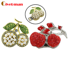 Hot !!! Jewelry Usb Flash Drive 8GB 16GB 32GB 64GB model fruit cherry Pen Drive crystal Pendrive Memory Card Gift