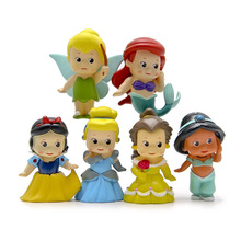 6pcs lovely Snow White Tink Bell The Little Mermaid Aladdin Princess Model Doll  Party Decoration Gift Action Figures Mini Toy
