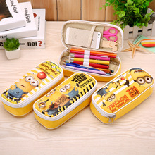 Minions Totoro Leather pencil bag Big capacity zipper cute school pencill case for girls kawaii Stationery office school supplie