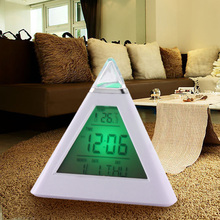 7 LED Color Pyramid Digital LCD Alarm Clock Thermometer Display Date Time Temperature Home Timing Alarm Year 2000-2099 Calendar