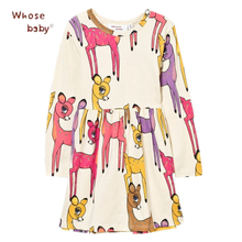 Deer Print Dresses For Girls Animals Winter Cotton Party Tulle Baby Dress For Kids Autumn Long Sleeves Costume Children Clothes