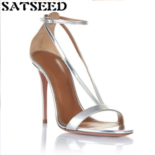 2017 New Super High Thin Cover Heeled Women Shoes Rome Fashion Sexy Sandals Buckle Ankle Wrap Strap Shoes Fashion Novelty(China)