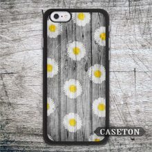 Many Daisy On Wood Case For iPhone 7 6 6s Plus 5 5s SE 5c and For iPod 5 High Quality Floral Pattern Cover Global Wholesale