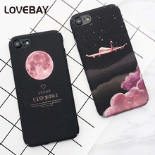 Lovebay Fashion Sky Moon Cases For iPhone 7 Lovely Cartoon Airplane Hard PC Full Cover Back Phone Case For iPhone 7 6 6s Plus