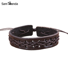 Drop Shipping Hot 2017 New Mens Jewelry Fashion Men/Women Punk Bracelets Bangles Braided Leather Rope Retro Bracelet sa043(China)