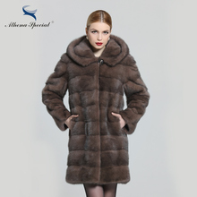 Athena Special Ladies Fashion Rex Genuine Mink Coat, Women's Fur Coat With Hoodie, Detachable Sleeves 2016 Women Real Fur Coat