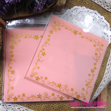 200pcs Light Pink Flower Lace Baking Gift Food Plastic Bags Cute Small Biscuit Bag Party Favor Cellophane Bags