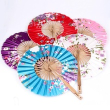 Windmill Bamboo Silk Round Fan Japanese Hand Fan Flower Held Fans Hanging Decorative Holiday Wedding Shower Favor ZA2849