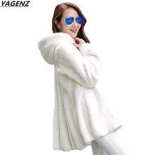 Plus Size 4XL Women Basic Coats 2017 New Fashion Winter Jacket Imitation Mink Coat Hooded Overcoat Faux Fur Coat Tops YAGENZ 646