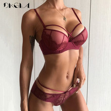 Buy New Top Sexy Underwear Push Bra Set Cotton Brassiere Deep V Black Lace Bra Panty Sets Embroidery Women Lingerie Set Green